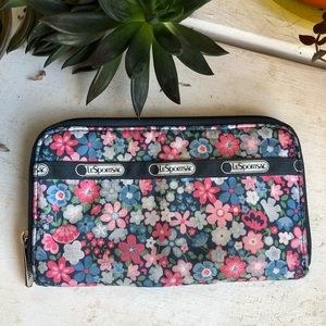 LeSportSac Lily Wallet - Blue & Pink Flowers
